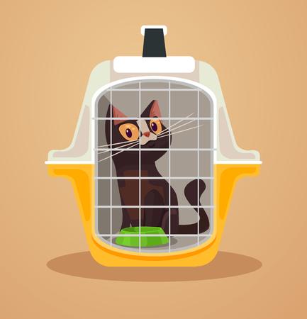 猫輸送ボックス。キャリング ケース。ベクトル フラット漫画イラスト