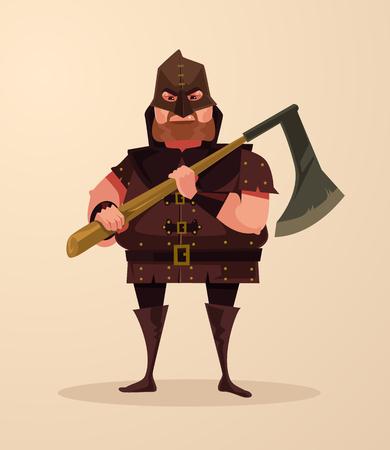 Medieval executioner angry man character hold ax. Vector flat cartoon illustration Ilustração