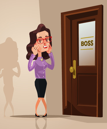 Scared frightened office worker. Vector flat cartoon illustration