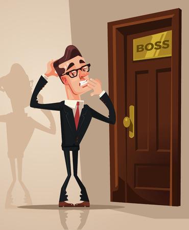 Travailleur de bureau effrayé effrayé. Vector illustration de dessin animé plat