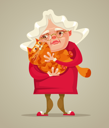 Happy smiling old woman. Vector flat cartoon illustration