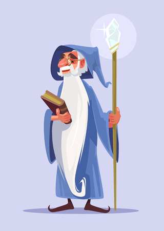 Happy smiling old magician character with white beard hold magic book. Vector flat cartoon illustration