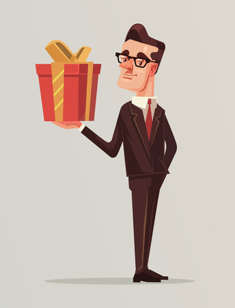 Man in business suit holds big gift box. Vector flat cartoon illustration Illustration