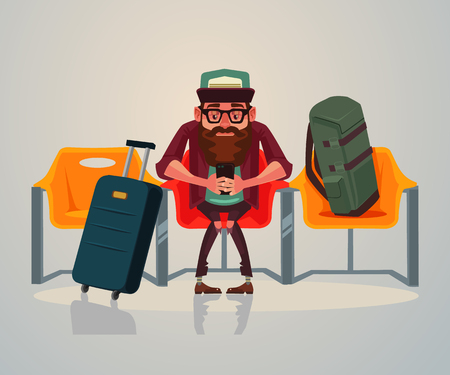 Happy smiling man waiting in the room. Vector flat cartoon illustration Ilustração