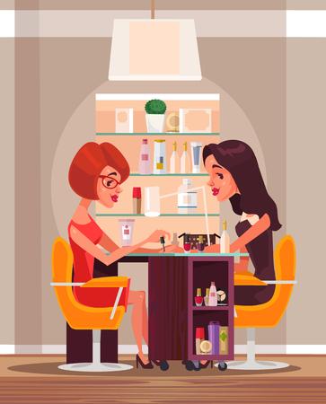 幸せな笑顔の女性は、美容サロンでマニキュアをしています。ベクトル フラット漫画イラスト  イラスト・ベクター素材