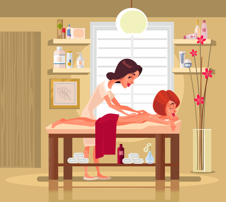 Massage therapist professional woman. Vector flat cartoon illustration