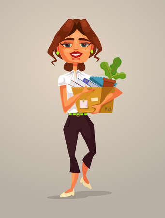 Happy smiling woman office worker going to new job. Vector flat cartoon illustration Illustration