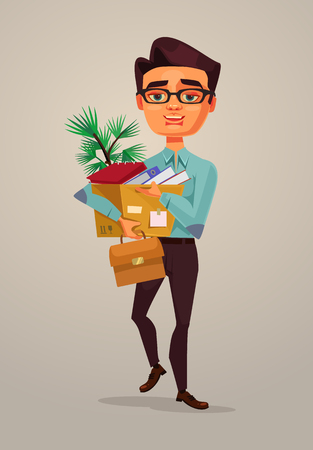 Happy smiling man office worker going to new job. Vector flat cartoon illustration