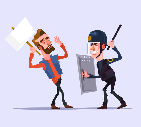 Angry police officer man character attacks protester. Vector flat cartoon illustration