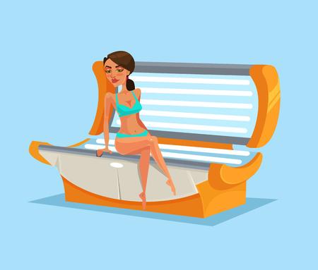 Happy smiling woman in solarium. Vector flat cartoon illustration Vectores