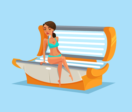 Happy smiling woman in solarium. Vector flat cartoon illustration Çizim