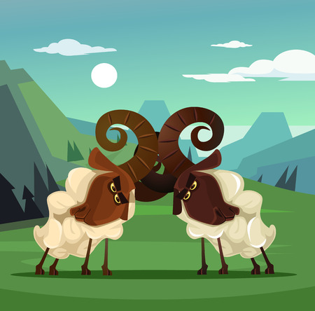 Two stubborn angry ram sheep characters quarreling. Vector flat cartoon illustration