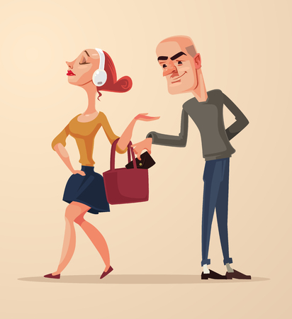 Bad pickpocket man character steals purse with money from woman bag. Vector flat cartoon illustration