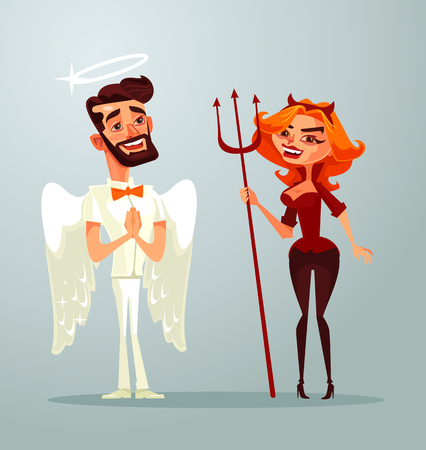 Angel man and devil woman characters. Vector flat cartoon illustration Çizim