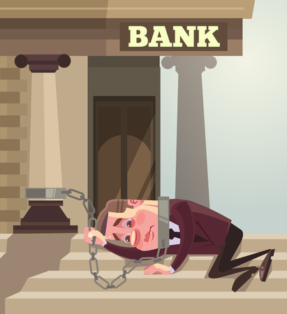 Businessman office worker character chained to the Bank. Big credit. Vector flat cartoon illustration