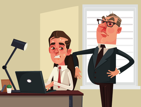 Strict boss businessman. Vector flat cartoon illustration