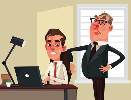 Imprenditore rigoroso del capo. Illustrazione vettoriale piatto vettoriale