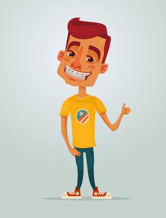 Uśmiecha się szczęśliwy mały chłopiec nastolatek z systemem nawiasach Wektor płaskie kreskówek ilustracji