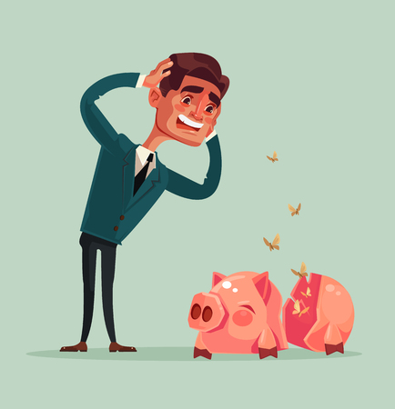 Broken empty piggy bank. No money. Sad unhappy crying office worker businessman character. Vector flat cartoon illustration