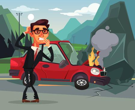 車の事故。怒って泣いています。ベクトル フラット漫画イラスト  イラスト・ベクター素材