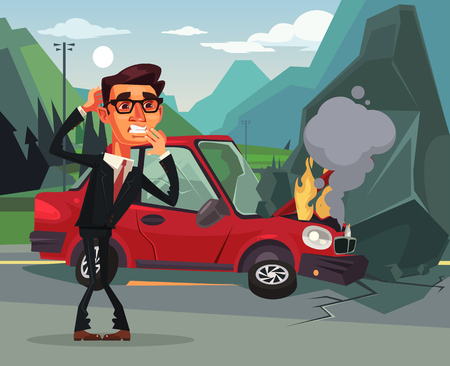 Car accident. Angry crying. Vector flat cartoon illustration
