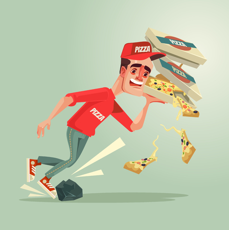 Unlucky courier man character stumble on stone and drops pizza down. Vector flat cartoon illustration