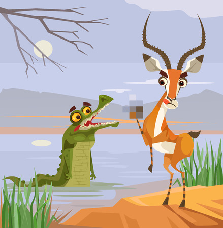 unafraid: Predator crocodile and victim antelope characters. Vector flat cartoon illustration