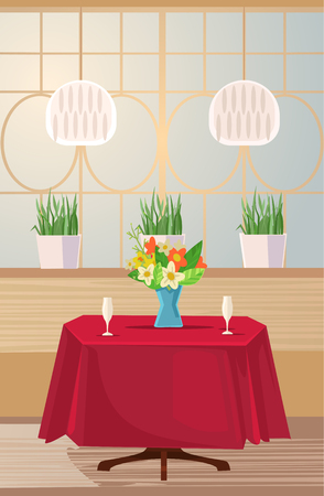 Reserved table for romance date. Vector flat cartoon illustration