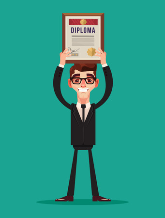 Happy smiling businessman. Vector flat cartoon illustration Illustration
