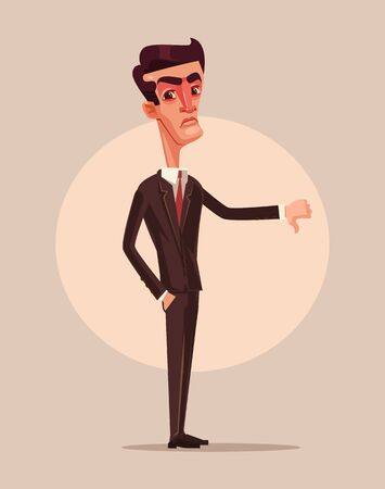 cancellation: Angry unhappy businessman office worker showing thumbs down. Dislike sign. Vector flat cartoon illustration Illustration