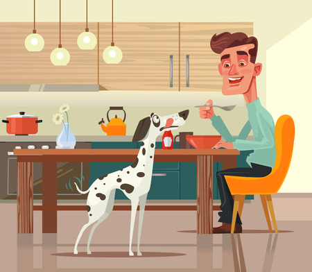Funny happy dog ??character asks for food. Vector flat cartoon illustration