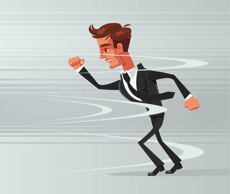 Strong brave businessman office worker go against wind. Vector flat cartoon illustration