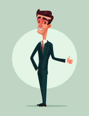 Happy smiling businessman in office worker showing thumbs up. Like sign. Vector flat cartoon illustration Illustration