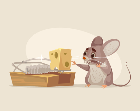 Scared mouse character trying to get cheese out of mousetrap. Vector flat cartoon illustration Illustration