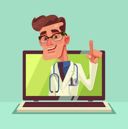 オンラインの医師。現代の新しい技術。ベクトル フラット漫画イラスト  イラスト・ベクター素材
