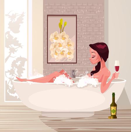 Happy smiling woman. Vector flat cartoon illustration
