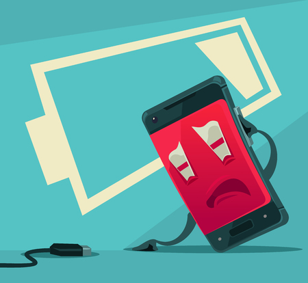 Sad unhappy tired smart phone character with low battery energy. Vector flat cartoon illustration Illustration