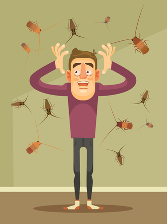 Invasion of cockroaches. Scared man character. Vector flat cartoon illustration