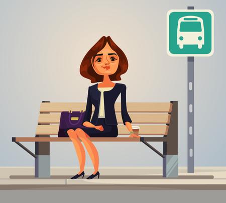 Bedrijfsvrouwenbeambte die op bus wachten. Vector platte cartoon afbeelding Stock Illustratie