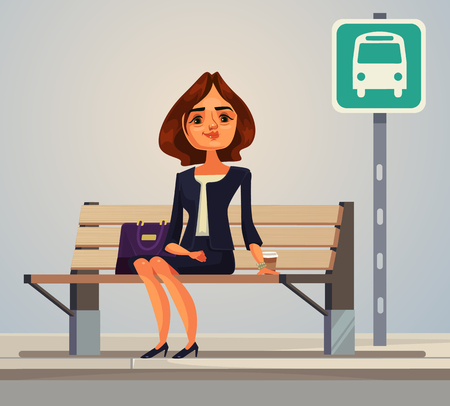 Business woman office worker waiting for bus. Vector flat cartoon illustration