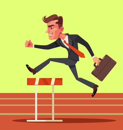 advantages: Happy smiling businessman jumping over hurdle obstacles. Business success. Vector flat cartoon illustration Illustration