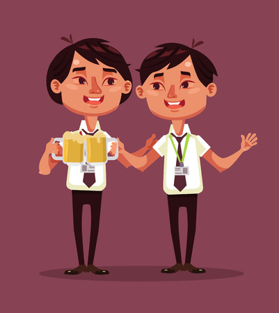 beer and necktie: Happy smiling drunk two office workers. Vector flat cartoon illustration
