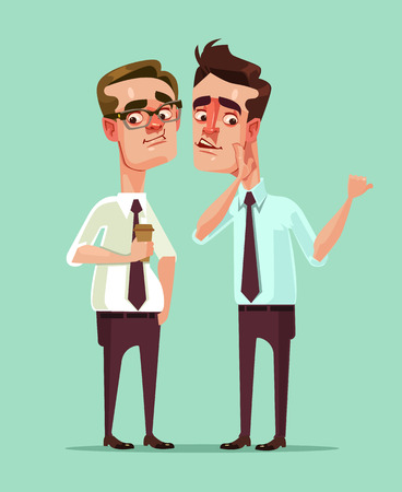 Man office worker says rumors to other man character. Vector flat cartoon illustration