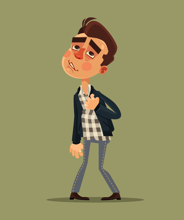 chest disease: Young man have heart attack. Vector flat cartoon illustration