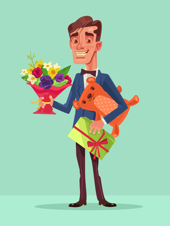 arm bouquet: Happy smiling man hold lot of gifts. Vector flat cartoon illustration