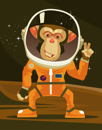 Happy smiling monkey astronaut in space suit. Vector flat cartoon illustration