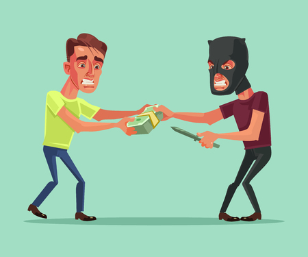 Robber tries to take money from an office worker. Vector flat cartoon illustration