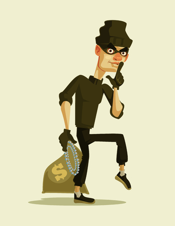 Happy smiling thief carrying a stolen money bag. Vector flat cartoon illustration