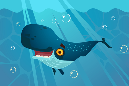 Happy smiling great blue whale character. Vector flat cartoon illustration