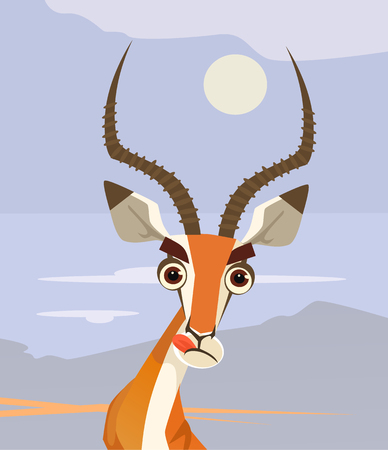 Happy smiling antelope character mascot chewing and looking. Vector flat cartoon illustration